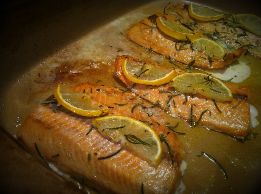 Lemon and rosemary roasted salmon