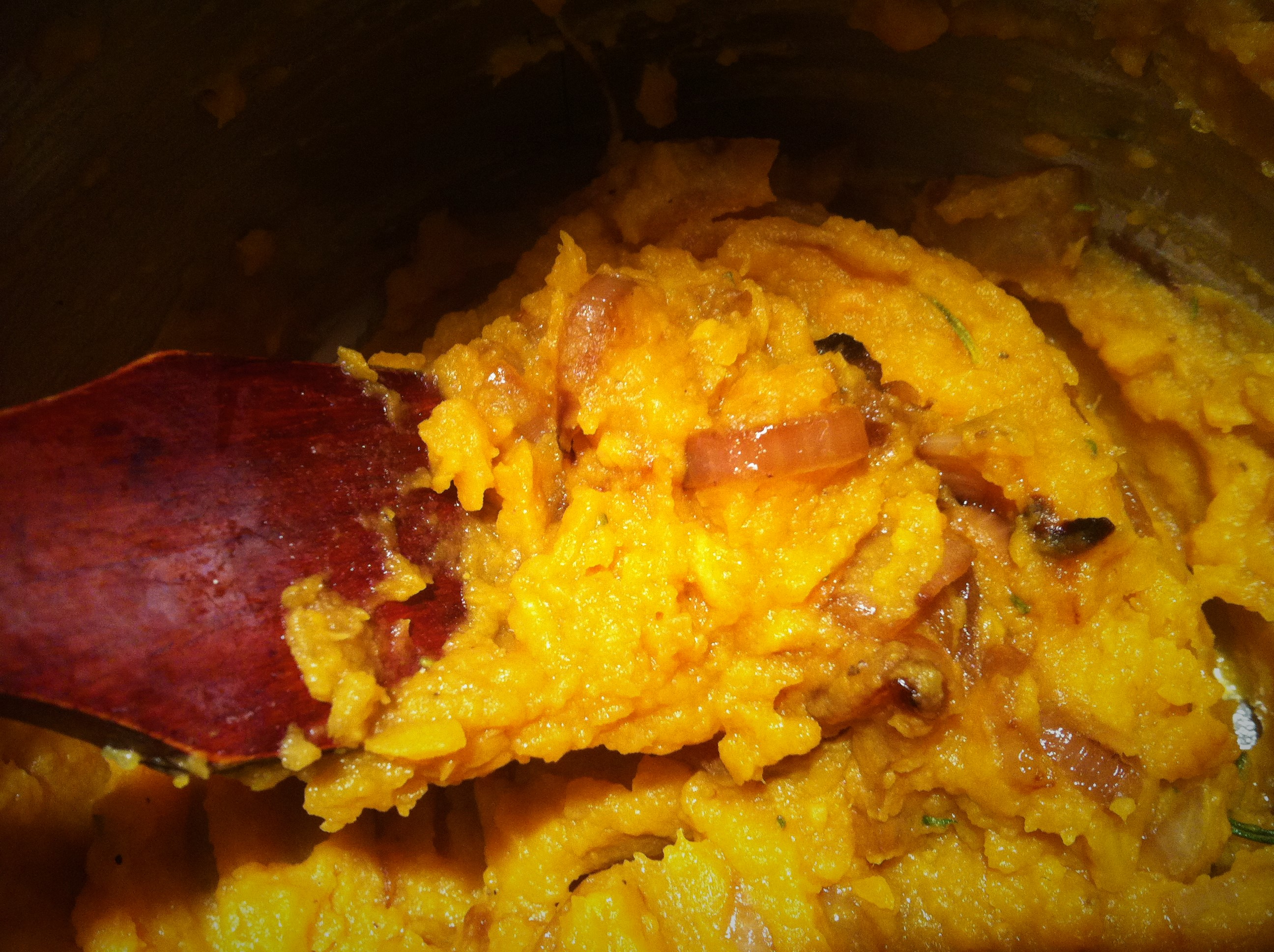 Yummy mashed sweet potatoes with rosemary and sea salt (and caramelized onions).