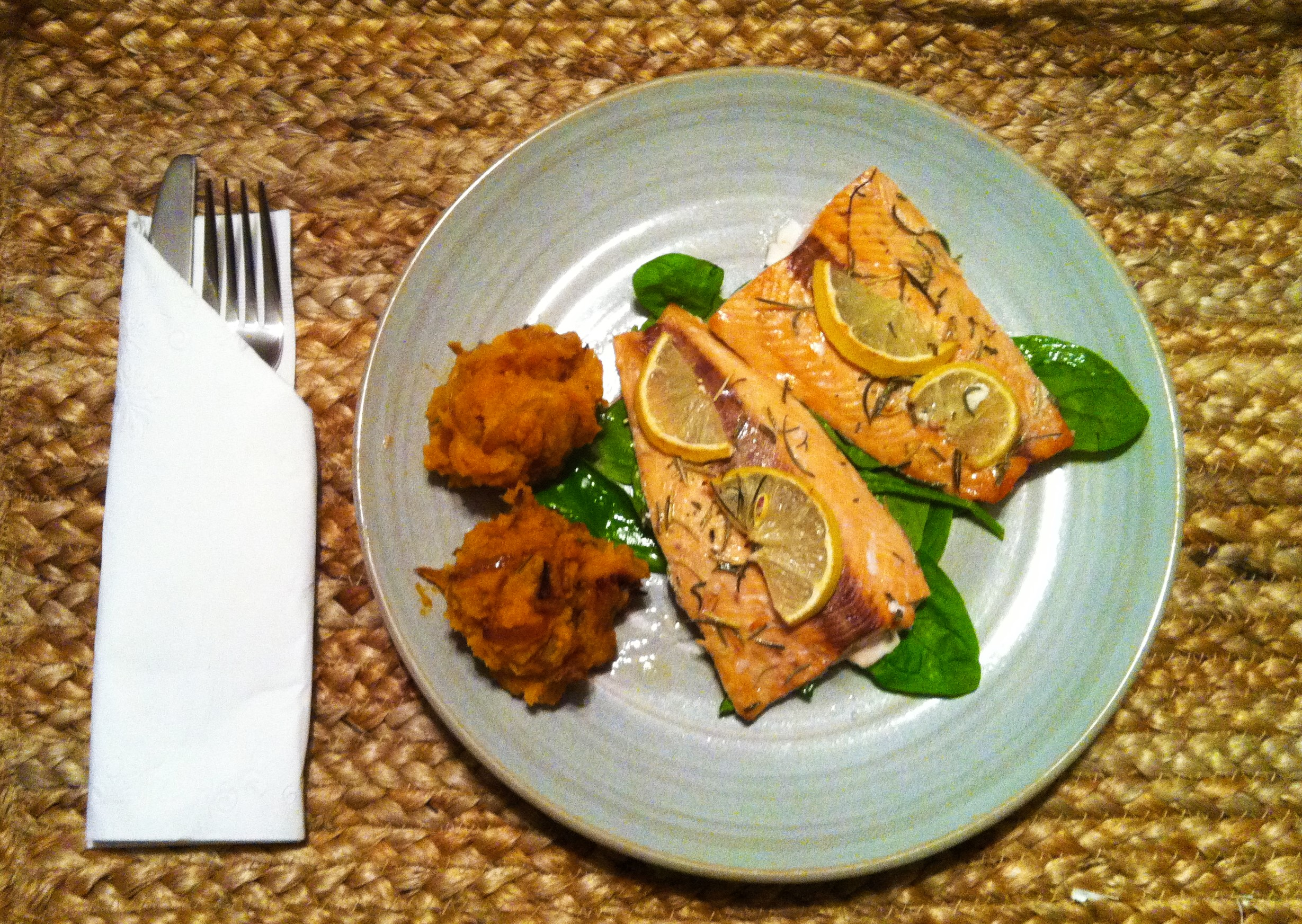 Lemon and rosemary broiled salmon with mashed sweet potatoes