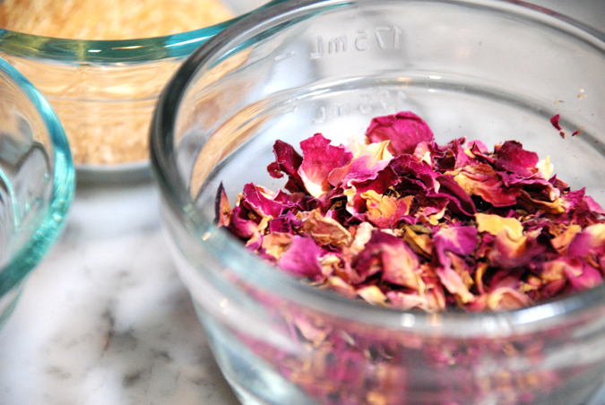 Rose petals and hips for the soap