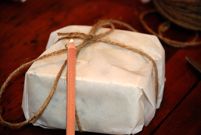 Wrap the soap in paper and twine
