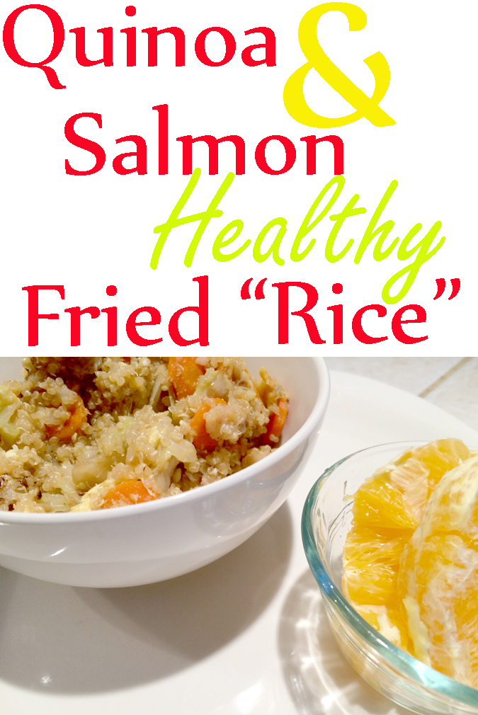 "Quinoa and salmon healthy fried ""rice"""